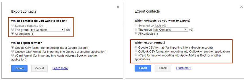specify an output folder to save the exported gmail contacts