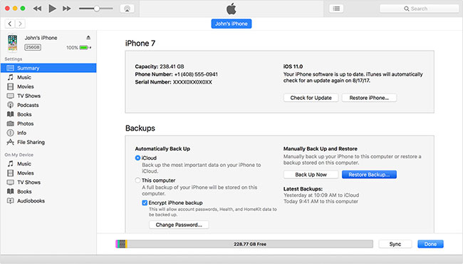 create iphone itunes backup