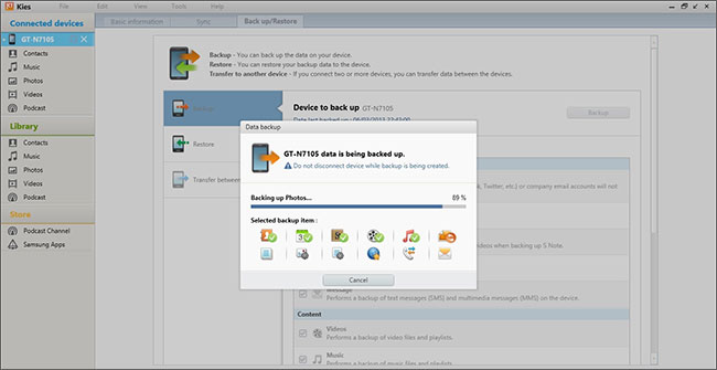 backup samsung data with samsung kies