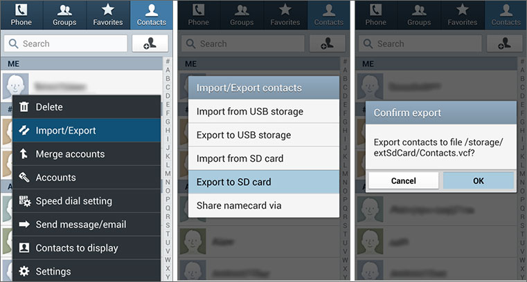 save contacts from android to sd card/pc