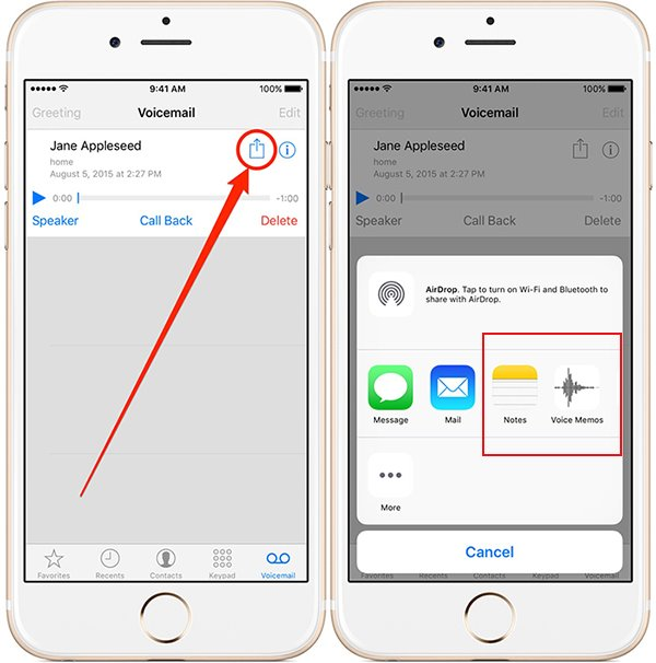 how to save a voicemail on iphone