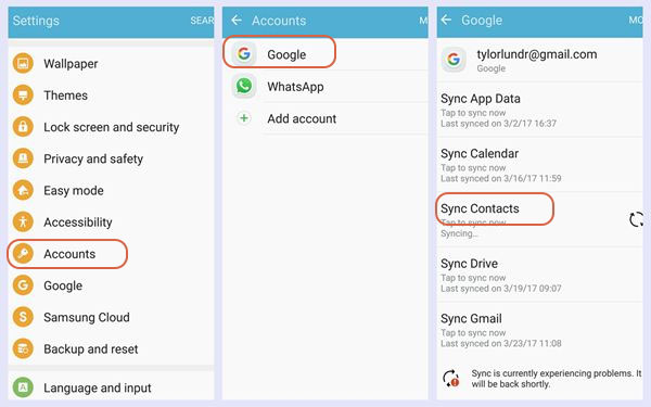 sync contacts with gmail on samsung
