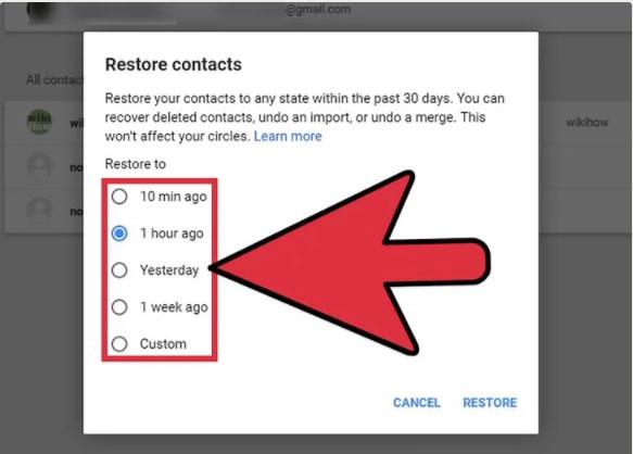 restore google contacts
