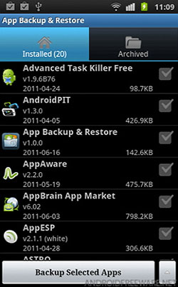 backup apps from Android