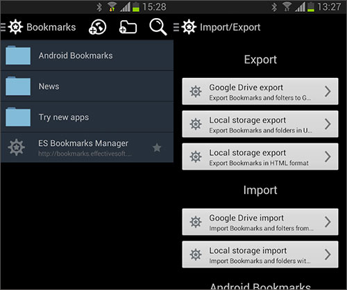 android backup bookmarks
