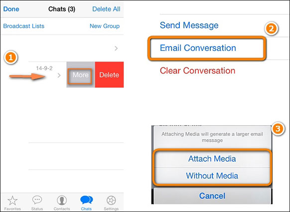how to transfer whatsapp using email