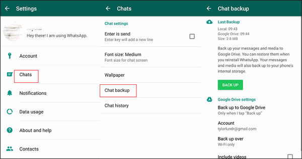 backup whatsapp on Android to google drive
