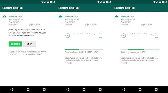 read whatsapp backup messages from google drive
