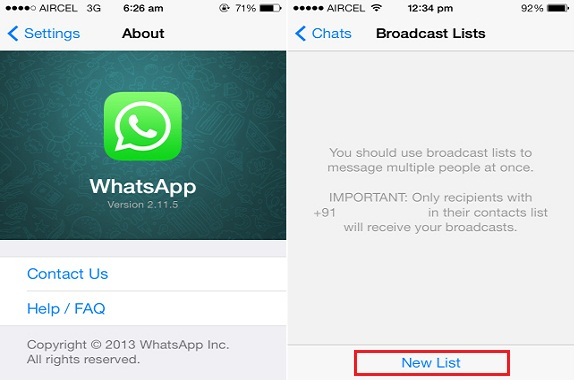 broadcast list on whatsapp