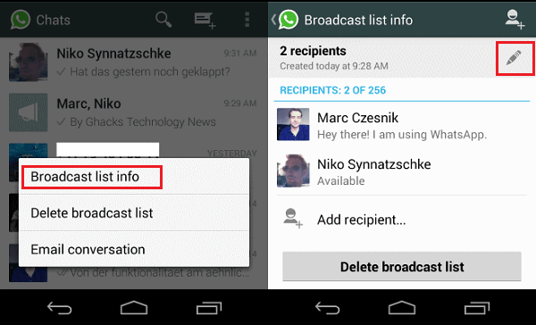 How to use broadcast lists