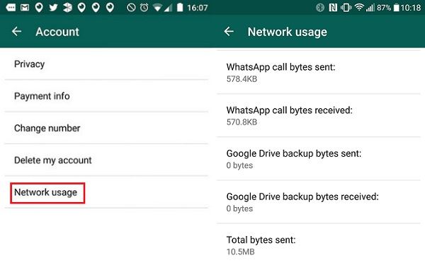wahtsapp Network Usage Settings